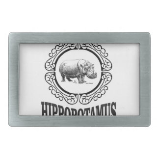 Framed Hippo Rectangular Belt Buckle