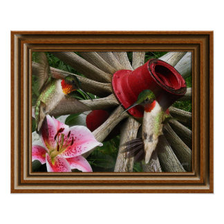 'Framed' Hummingbirds Poster