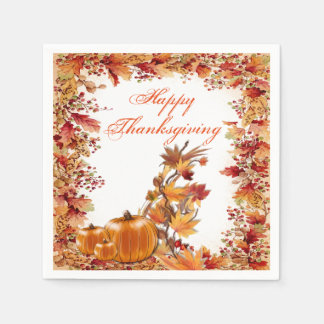 Framed In Color Autumn Leaves Thanksgiving Napkins Paper Napkin