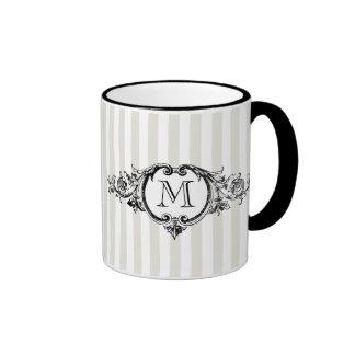 Framed Monogram On Stripes Ringer Coffee Mug