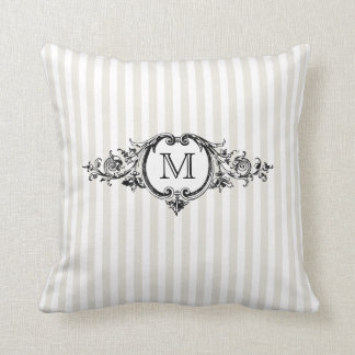 Framed Monogram On Stripes Throw Pillow