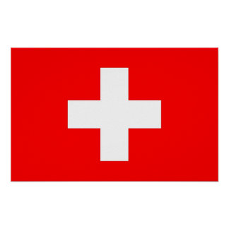 Framed print with Flag of Switzerland