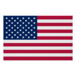 Framed print with Flag of U.S.A.