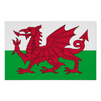 Framed print with Flag of Wales