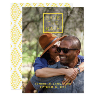 Framed Save the Date Card - Lemon