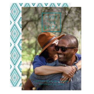 Framed Save the Date Card - Teal