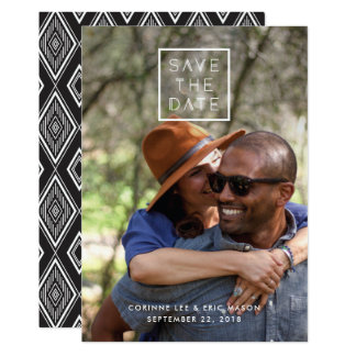 Framed Save the Date Card - White