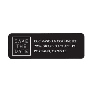 Framed Save the Date Mailing Label - Black Return Address Label