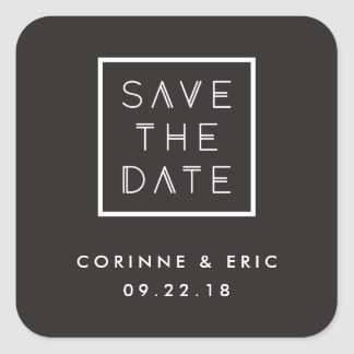 Framed Save the Date Sticker - Black