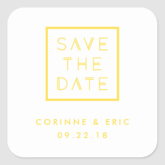 Framed Save the Date Sticker - Lemon