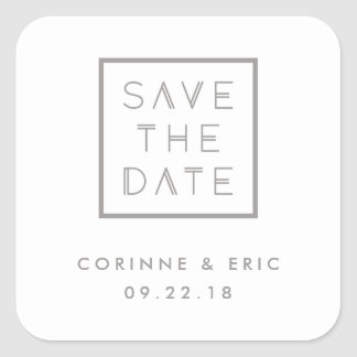 Framed Save the Date Sticker - Smoke