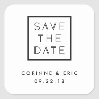 Framed Save the Date Sticker - White