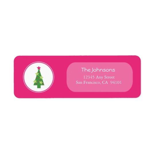 Framed Tree Holiday Address Labels (pink)
