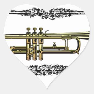 framed trumpet in gold heart sticker