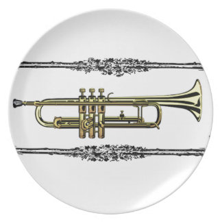 framed trumpet in gold party plate