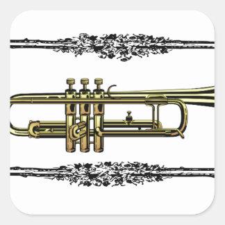 framed trumpet in gold square sticker