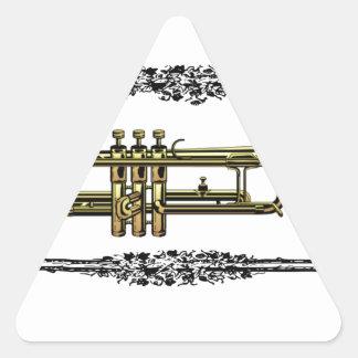 framed trumpet in gold triangle sticker