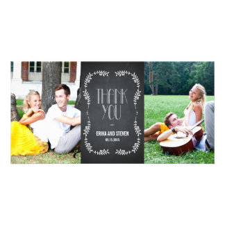 Framing Leaves Wedding Thank You Cards Chalkboard Photo Greeting Card