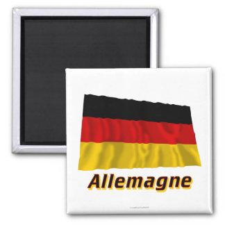 Français de Drapeau Allemagne avec le nom en Magnet Carré