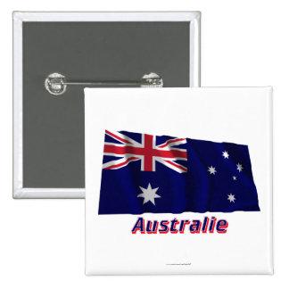 Français de Drapeau Australie avec le nom en Macaron Carré 5 Cm