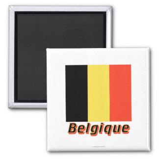 Français de Drapeau Belgique avec le nom en Aimant