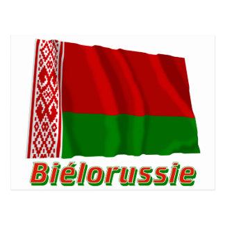 Français de Drapeau Biélorussie avec le nom en Cartes Postales