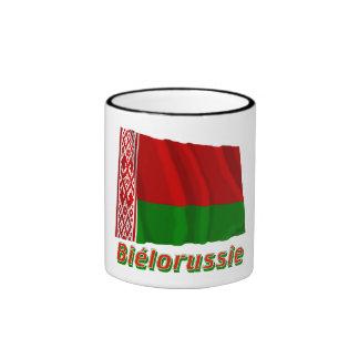 Français de Drapeau Biélorussie avec le nom en Tasse À Café
