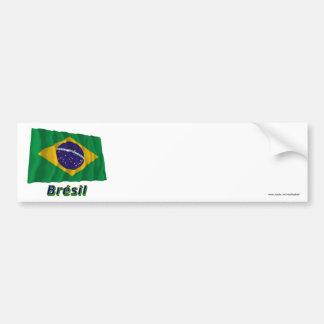 Français de Drapeau Brésil avec le nom en Adhésifs Pour Voiture