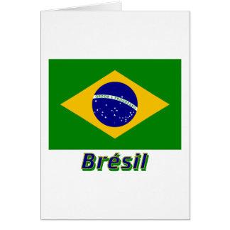 Français de Drapeau Brésil avec le nom en Carte De Vœux