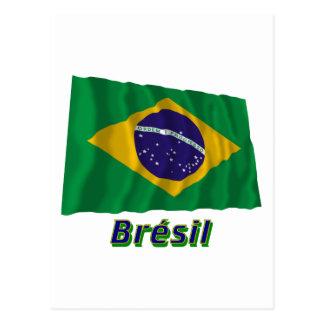 Français de Drapeau Brésil avec le nom en Carte Postale