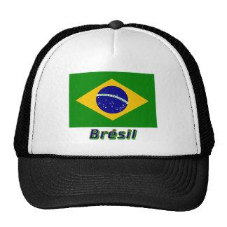 Français de Drapeau Brésil avec le nom en Casquette