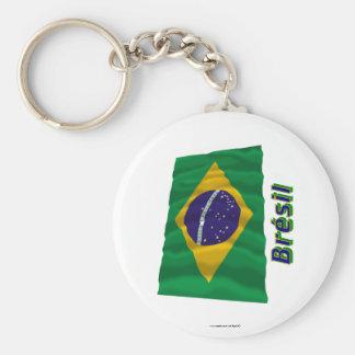 Français de Drapeau Brésil avec le nom en Porte-clés