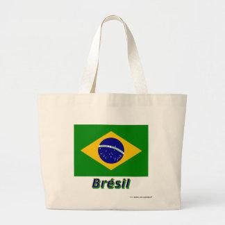 Français de Drapeau Brésil avec le nom en Sac Fourre-tout