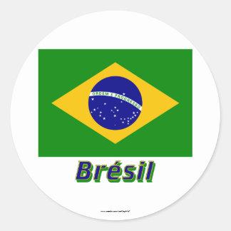 Français de Drapeau Brésil avec le nom en Sticker Rond