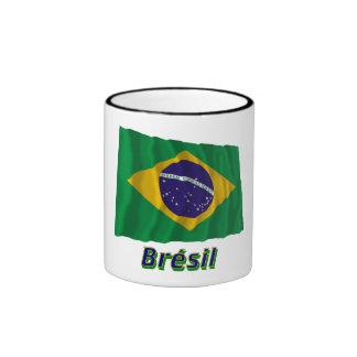 Français de Drapeau Brésil avec le nom en Tasses À Café