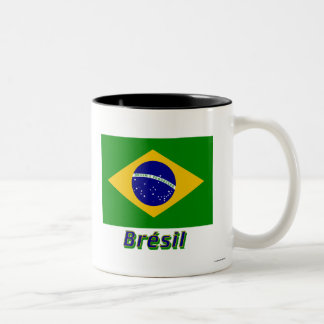 Français de Drapeau Brésil avec le nom en Tasses