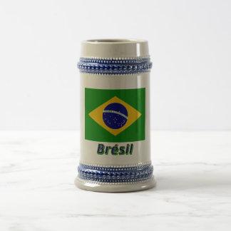 Français de Drapeau Brésil avec le nom en Tasse