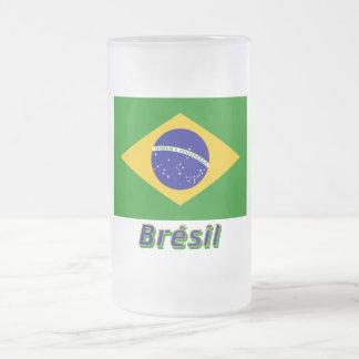 Français de Drapeau Brésil avec le nom en Mugs