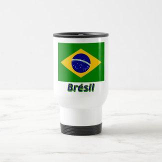 Français de Drapeau Brésil avec le nom en Tasse À Café