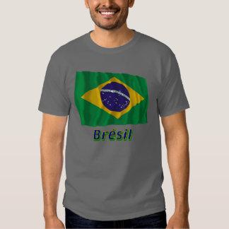 Français de Drapeau Brésil avec le nom en Tee Shirt