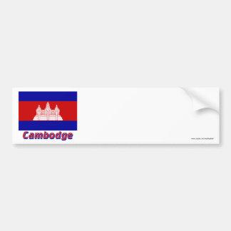 Français de Drapeau Cambodge avec le nom en Adhésifs Pour Voiture