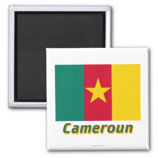 Français de Drapeau Cameroun avec le nom en Aimant Pour Réfrigérateur