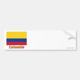 Français de Drapeau Colombie avec le nom en Autocollant De Voiture