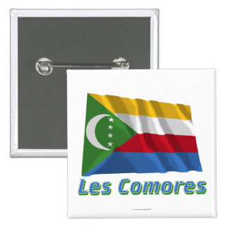 Français de Drapeau Comores avec le nom en Macaron Carré 5 Cm
