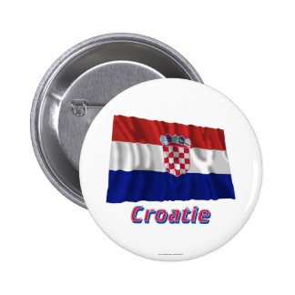 Français de Drapeau Croatie avec le nom en Macaron Rond 5 Cm