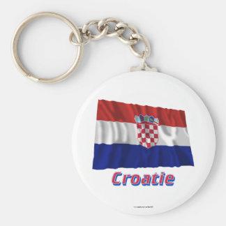 Français de Drapeau Croatie avec le nom en Porte-clé