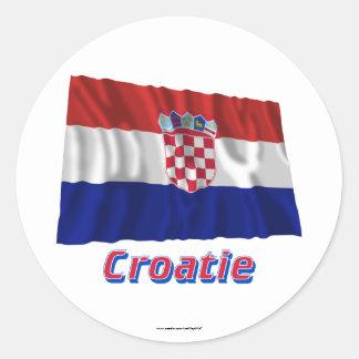 Français de Drapeau Croatie avec le nom en Sticker Rond