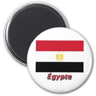 Français de Drapeau Égypte avec le nom en Magnet Rond 8 Cm