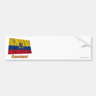Français de Drapeau Équateur avec le nom en Autocollants Pour Voiture