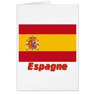 Français de Drapeau Espagne avec le nom en Carte De Vœux